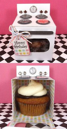 So cute! Cupcake Oven: Such unique packaging! Create these cute oven boxes, and stuff cupcakes in them. birthday gifts | birthday gifts for mom | birthday gifts for husband | 18th birthday gifts | birthday gifts for teens | cheap birthday gifts