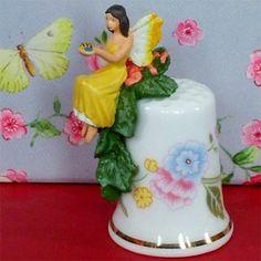 dedal de recuerdos, Reino Unido, Sterling & Classic / Inglaterra, porcelana, las hadas y los ángeles, planta, Cottage Flower Fairy