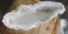 Victorian Celery Dish Ornate Frilled Porcelain