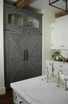 We did not think that a large stainless steel refrigerator would work with this kitchen design, so we used the Thermador column refrigerator and freezer and had custom wood panels made to create a barn door look Small Kitchen Pantry, Barn Kitchen, Kitchen Pantry Cabinets, Kitchen Ideas, Kitchen Decor, Kitchen Designs, Country Kitchen, Refrigerator Panels, Refrigerator Cabinet