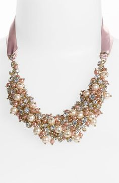 Perfect for a pastel bridal party | Pearl and crystal bib necklace