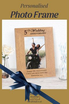 Personalised 5th Anniversary Photo Frame. A beautiful wooden photo frame that can be personalised with your own message The ideal anniversary gift for everybody celebrating a 5th anniversary, for Him or for Her, a gift for the Home