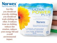 Laundry Tip - Just like you should not over dry clothing, you should not wash clothing too often. This provides a number of benefits, it reduces wear on clothing, reduces lint creation, reduces your energy bill and overall environmental impact. Norwex #Dryer Balls lift and separate reducing drying time, static cling and #wrinkles, without #chemicals.
