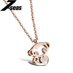 Cute Monkey Titanium Steel Rose Gold Plated Pendant Necklace