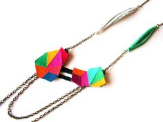 Geometric Leather Necklace Triangle Color by BooandBooFactory, $42.00