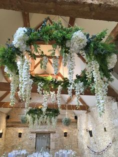 Greenery Wedding Ideas ---white floral and greenery chandelier, wedding reception ideas for spring weddings Wedding Table Centerpieces, Flower Centerpieces, Wedding Decorations, Wedding Bouquets, Wedding Flowers, Floral Chandelier, Chandelier Wedding, Instead Of Flowers, Barn Wedding Venue