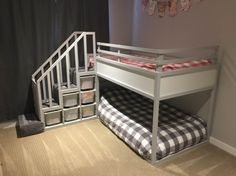 "Kura Bunk Bed Hack for two toddlers - talk about ""WOW"", he even added a Mohawk carpet runner to the stairs..."