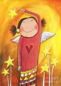 Guardian Angel Painting - Sweet Angel by Sonja Mengkowski