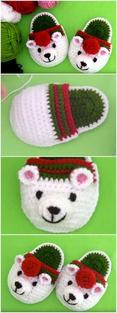 Crochet Polar Bear Slippers For Christmas – Crochet Ideas – 2020 Merry Christmas Easy Crochet Patterns, Knitting Patterns, Crochet Ideas, Crochet Gifts, Free Crochet, Crochet Santa, Bear Slippers, Slipper Socks, Crochet Shoes