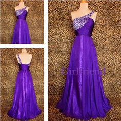 Elegant purple chiffon oneshoulder long beaded prom by GirlsProms, $178.90