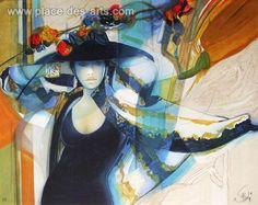 Femme au chapeau I, Lithographie, du peintre, JEAN-BAPTISTE, VALADIÉ, Signée et numérotée au crayon