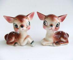Salt and Pepper Shakers Vintage Deer, Kitschy Collectibles, Kawaii Deer Figurines by VintageByJade on Etsy