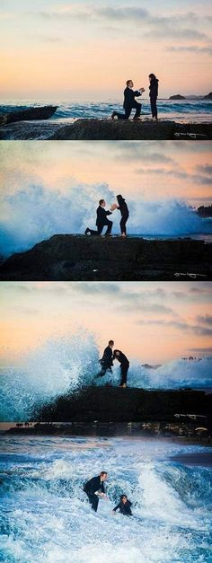 Prosal Proposing Hit by wave Funny Wedding Pictures Bad Wedding Photos Worst Wedding Pics Disasters Crazy Photography ideas