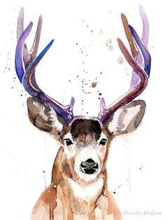 Watercolor Deer, Watercolor Animals, Watercolor Paintings, Original Paintings, Original Art, Hirsch Illustration, Painting Prints, Art Prints, Diy Painting