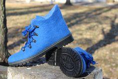 Blue Felted Winter Boots 100% WOOL Russian Valenki by FeltZeppelin