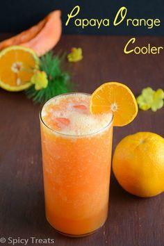 Spicy treats: papaya orange cooler / papaya orange juice recipes to cook. Papaya Juice Recipe, Papaya Drink, Papaya Recipes, Papaya Smoothie, Orange Smoothie, Juice Smoothie, Smoothie Drinks, Fruit Juice, Orange Juice
