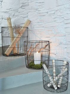 This decorative set of 3 large metal wire baskets is a stylist's dream!
