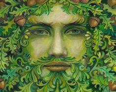 Oak King Green Man Pagan God 8x10 Giclée Print on Canvas Pagan Bohemian Mythology Goddess Art