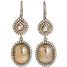 Zoe Diamond Double Drop Earrings ($13,800) ❤ liked on Polyvore featuring jewelry, earrings, accessories, brincos, gioielli, women, pave diamond drop earrings, diamond earring jewelry, oxidized jewelry and diamond drop earrings