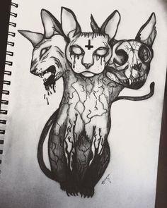 3 headed demonic Sphynx drawing art sketch cat creepy - By April Urquhart - art - Katzen Creepy Sketches, Scary Drawings, Demon Drawings, Dark Art Drawings, Art Sketches, Drawing Art, Drawing Ideas, Pencil Drawings, Arte Horror