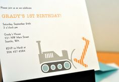 construction party  :  birthday or baby shower invitation