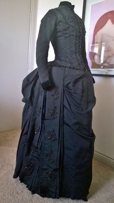 1880's asymmetrical bustle dress, silk, with velvet and jet beading trim, right front.