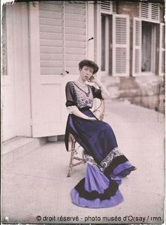 C. Chusseau Flavian-  The Queen of the Belgians sitting  around 1910  autochrome