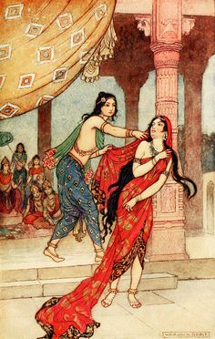 """The Ordeal of Queen Draupadi. 'The Great Gambling Match' from """"Indian myth and legend"""" (1913). Illustration by Warwick Goble"""