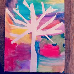 Fun craft for the kiddos...trees made on water color paper, with water colors and masking tape. Easy peasy!