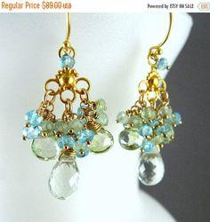 50% OFF Green Chandelier Earrings, Green Amethyst,  Prehnite, Apatite Gold Plated Earrings