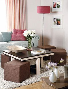 Powerful ideas to design the small living room of modern apartments with furniture with dual functions, styles and sizes for more space.