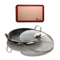 Upgraded Curtis Stone DuraPan Combo Nonstick 12 Multipurpose Deep Pan with Lid Includes Our Exclusive Non Stick Professional Silicone Baking Mat and a 9 Recipe Card * Check this awesome product by going to the link at the image.-It is an affiliate link to Amazon.