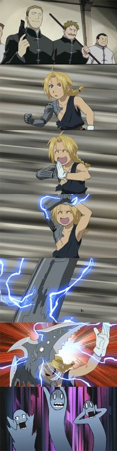 FMA: brotherhood episode 2!  My all time favorite scene.   I giggle like a maniac every time I watch it. xD