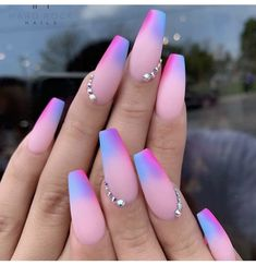 42 acrylic nail designs by glamorous ladies of the summer season .- 42 acrylic nail designs by glamorous ladies of the summer season. Picture # 1 – Nails / Nails – # Acrylic Nails # of - Summer Acrylic Nails, Best Acrylic Nails, Summer Nails, Coffin Nails Designs Summer, Acrylic Nails Coffin Ombre, Colored Acrylic Nails, Acrylic Nail Art, Nagel Bling, Gel Nail Art Designs