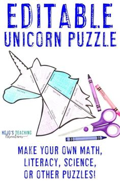 This FREE editable unicorn puzzle allows you to type anything you want into the PowerPoint file. Click to download it today, then use it with your 1st, 2nd, 3rd, 4th, 5th, or 6th grade elementary classroom or homeschool students. Use this with math, literacy, foreign languages, sight words, vocabulary, or anything else that fits into the text boxes. #MathGames #LiteracyGames #MiddleSchool #Elementary #HoJoTeaches