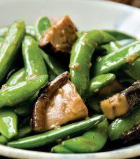 Stir-Fry Guru Grace Young shares her recipe for Stir-Fry Sugar Snap Peas with Shiitake Mushrooms