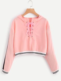 Eyelet Lace Up Stripe Trim HoodieFor Women-romwe Source by Girls Fashion Clothes, Teen Fashion Outfits, Outfits For Teens, Summer Outfits, Girl Outfits, Crop Top Outfits, Cute Casual Outfits, Mode Hipster, Crop Top Hoodie