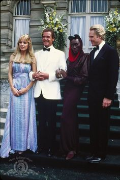 Roger Moore, Tanya Roberts, Christopher Walken and Grace Jones in A View to a Kill