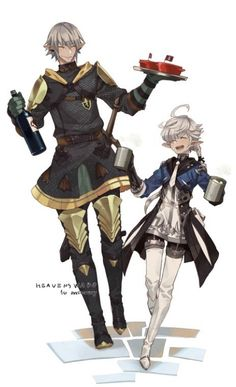 having a good time Final Fantasy Alphinaud and the Lord haurchefant Final Fantasy Xiv, Final Fantasy 14 Online, Final Fantasy Artwork, High Fantasy, Fantasy Series, Medieval Fantasy, Character Poses, Character Art, Character Design