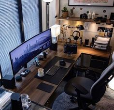 We've compiled the best office desk setup ideas, ergonomic desk setups, and gaming setup for you, featuring the best ergonomic chair for short person with back pain! All images were sourced. Workspace Design, Office Interior Design, Office Interiors, Bureau Design, Computer Desk Setup, Gaming Room Setup, Gaming Rooms, Gaming Computer, Cool Gaming Setups