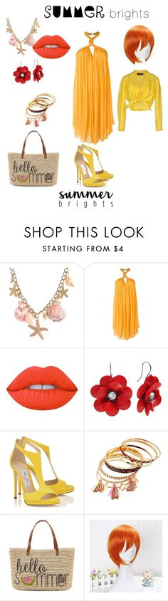 """""""summer brights...."""" by starburst9091 ❤ liked on Polyvore featuring Jay Ahr, Lime Crime, Straw Studios, Coshome, Moschino and summerbrights"""