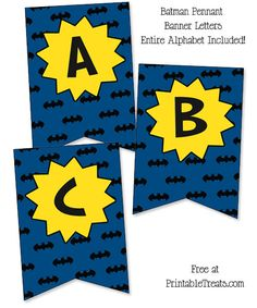 Printable Batman Birthday Banner in Blue Printable Treats