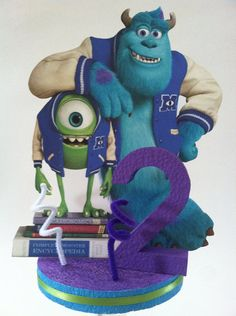 """Double Sided 1/2"""" Thick Foam Monsters University Centerpiece with Base and Age Number on Etsy, $14.00"""