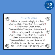 Counting Rhymes develop counting, numeral recognition and addition and subtraction skills. Counting Rhymes, Ordinal Numbers, Math Skills, Addition And Subtraction, November, Craft, School, November Born, Creative Crafts