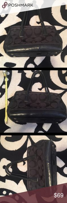 Coach Signature Handbag - Black Authentic Coach Signature Handbag - Black. Outside is in great condition, inside is stained. Leather and canvas mix. Can be worn on shoulder or over your arm. Coach Bags Shoulder Bags