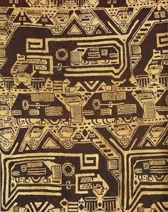 This Nasca textile portrays an ocean teeming with marine warriors, fish, and killer whales which were a part of everyday life in the Andean culture when they fished for food.