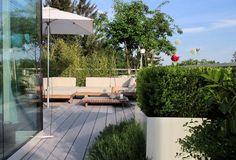 Sonniger Sitzplatz auf WPC Terrasse mit großzügiger Begrünung