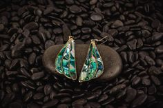 Shell Earrings, Gemstone Earrings, Women's Earrings, Love Ring, Abalone Shell, Teardrop Earrings, Vintage Earrings, Hippie Boho, Jewelry Box