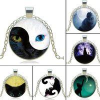 1pcs/lot  Black Cat  Pendant Necklace YIN YANG Cat  Necklace For Women Silver Chain Vintage Choker Statement Necklace Jewelry