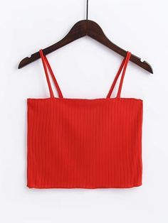 Crop Cami Designed with Spaghetti Strap. Slim fit. Plain design. Trend of Summer-2018. Designed in Red.